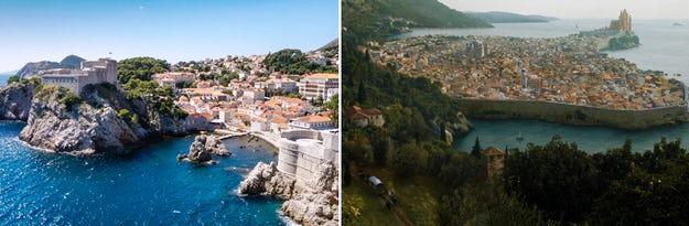 Dubrovnik adalah tempat yang sempurna untuk scene film King's Landing; Benteng Lovrijenac dapat dilihat bertengger di atas batu; gambar melalui Di mana di dunia Riccardo? (kiri) dan Reddit (kanan).