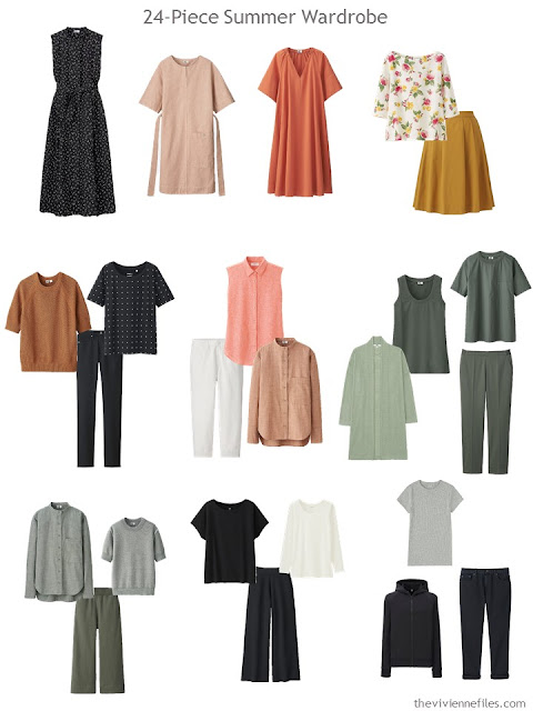 a 24-piece warm weather wardrobe