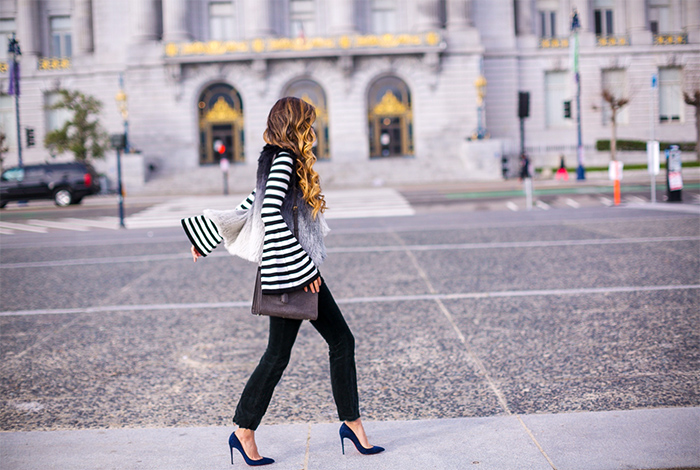 Milly bell sleeve pullover, stripe bell sleeve sweater, j brand flared jeans, faux fur vest, saint laurent sac de jour bag, christian louboutin pumps, baublebar earrings, san francisco style blog, san francisco street style