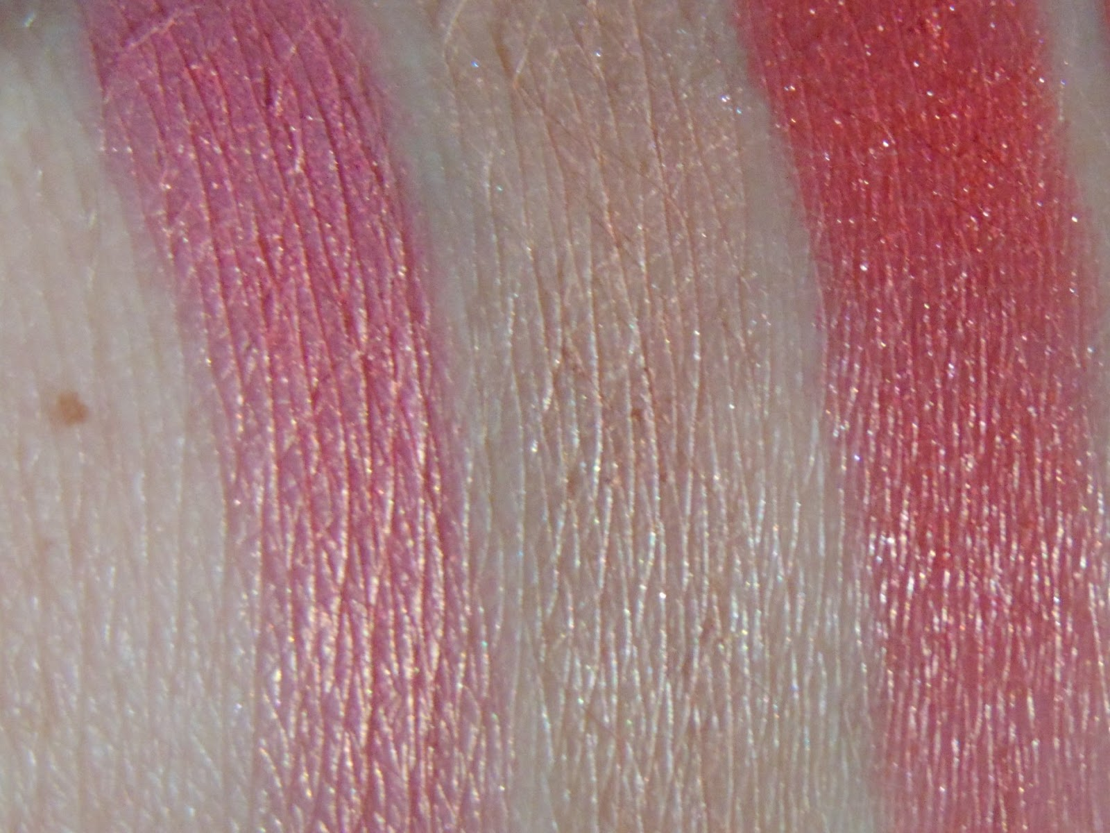 sleek rose gold benefit coralista mac cheeky bits swatches