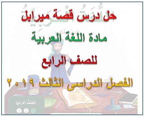 حل قصة ميرابل لغة عربية للصف الرابع فصل ثالث 2019 - موقع مدرسة الامارات
