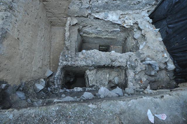 Wykopaliska archeologiczne w Gieczu - fragment pierwszego kościoła grodowego