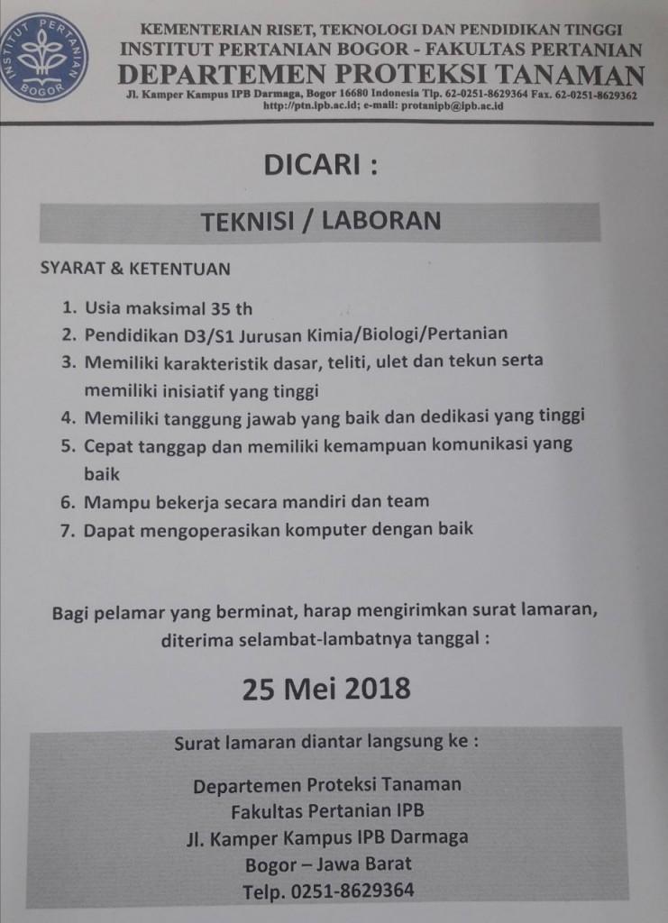 Lowongan Teknisi / Laboran Fakultas Pertanian Institut Pertanian Bogor (IPB)