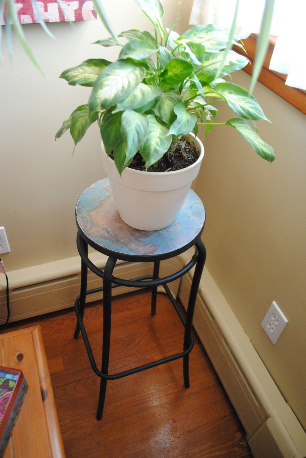 One Day At A Time Old Stool Turned Plant Stand