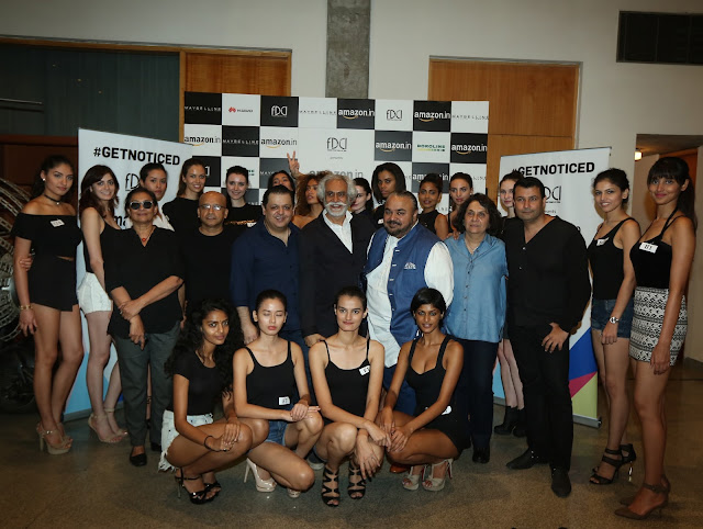 Vidyun Singh, Hemant Khendilwal,Rohit Gandhi, Sunil Sethi, JJ Valaya,Asha Kochhar and Ashish Soni at #GETNOTICED with models at auditions for the AIFW SS'17