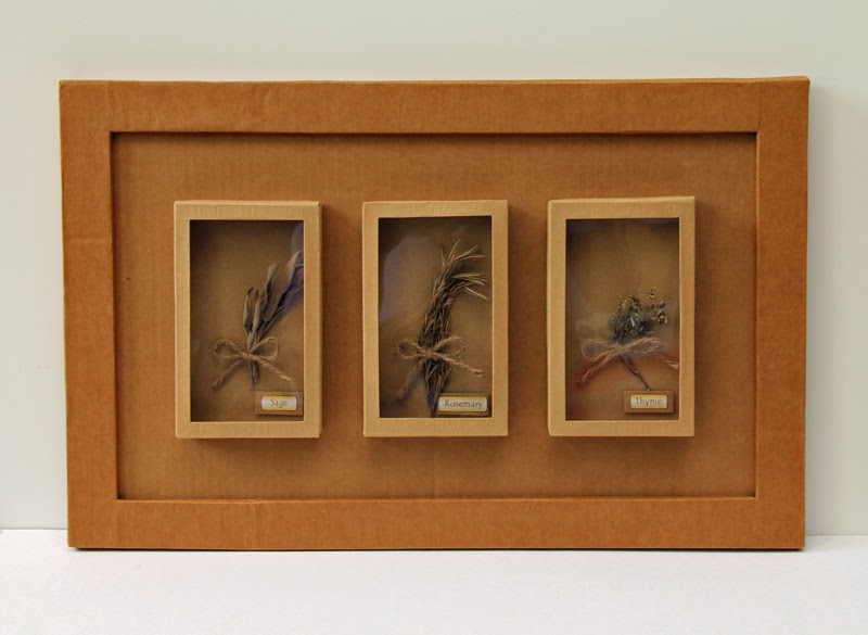 Cardboard Shadow Box for showcasing dried herbs