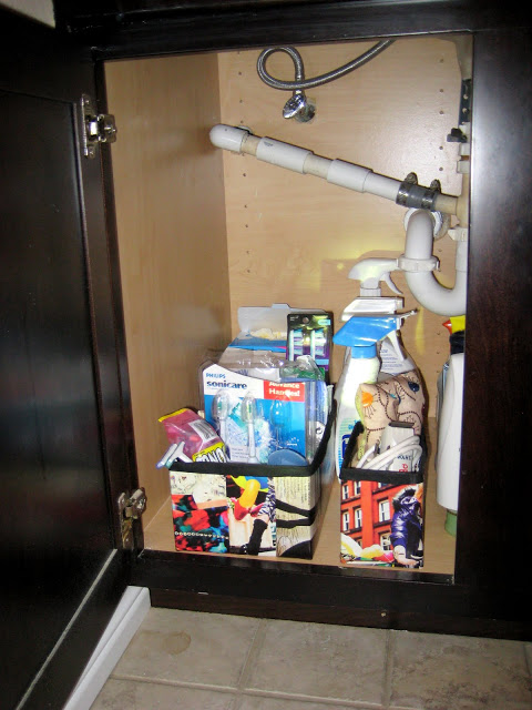 Organize under the sink with cardboard  boxes :: OrganizingMadeFun.com