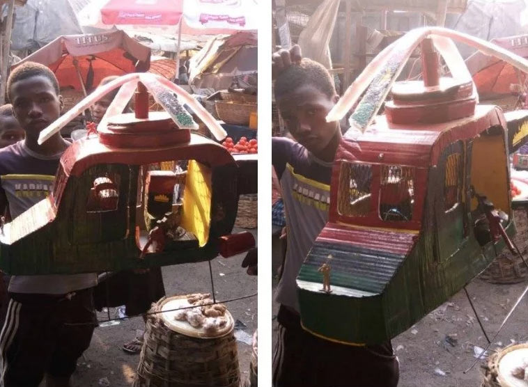 Boy makes helicopter, paints it Biafran colors in Imo