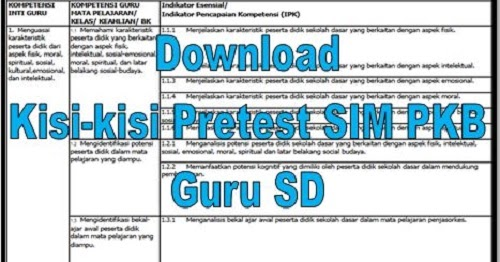 Download Kisi Kisi Pretest Sim Pkb Guru Sd File Administrasi Guru Net