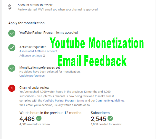 Youtube Monetization Email Feedback