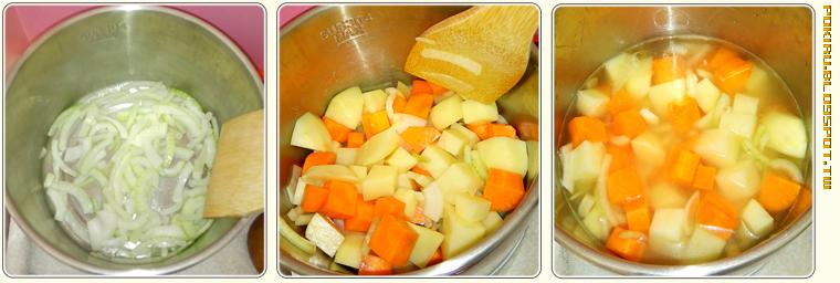 雞肉咖哩飯烹煮過程
