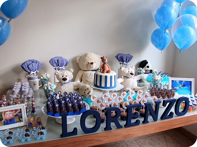 Decoração da Mesa Azul com Tema de Ursos