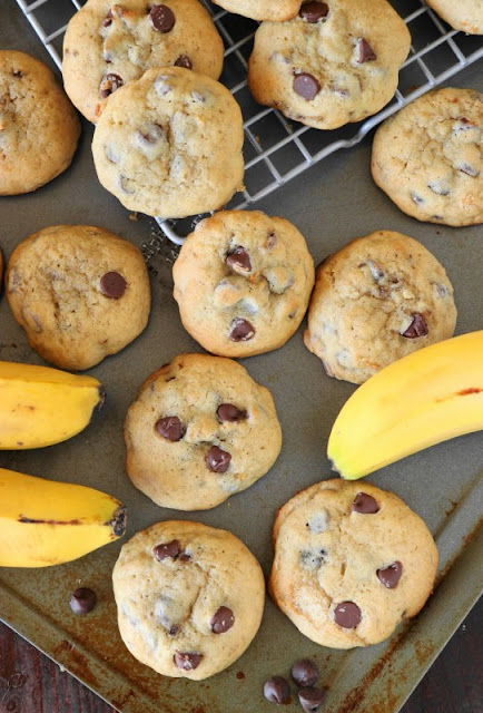 Banana Chocolate Chip Cookies image - a great alternative to banana bread for using up those over ripe bananas.