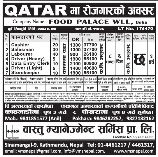 Jobs in Qatar for Nepali, Salary Up to Rs 60,900