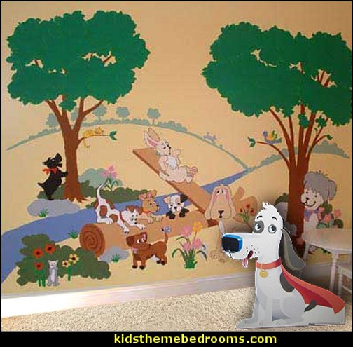 Puppy Playground, Large Mural - Paint by Numbers  outdoor theme bedroom ideas - camping theme bedroom decor  - backyard themed kids rooms  - bugs and critters theme bedrooms - Happy Camper little boys outdoor theme bedroom - tree wall decal - dog wall decal stickers - treehouse bed  treehouse theme bedrooms - camping room decor - camping theme room - Boy Scout Camp mural - backyard garden camping bedroom ideas - nature inspired bedding - nature wallpaper murals - plush critter toys