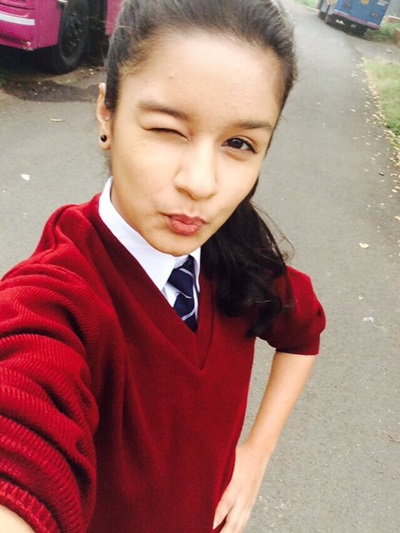 Avneet Kaur selfie pic in school dress