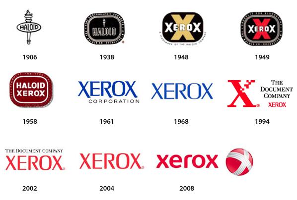 Evolución del logo de Xerox
