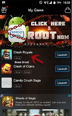 Cara Menggunakan XMODGames di Clash Royale Android
