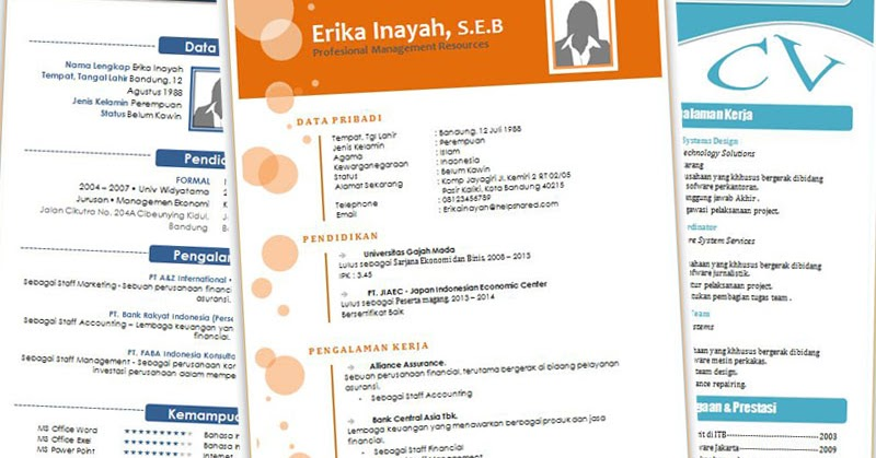 download cv kreatif unik dan menarik format doc word part