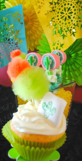Cactus poms for Fiesta cupcakes