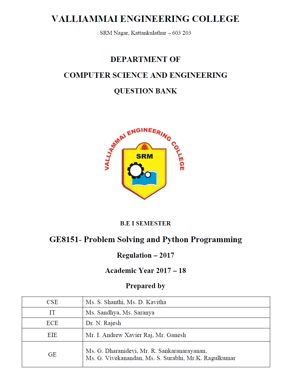 GE8151 Problem Solving and Python Programming Question Bank