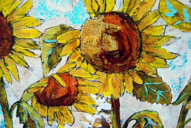sunflower art detail by Miriam Schulman http://schulmanart.blogspot.com/2015/09/preparing-to-plant-painting.html