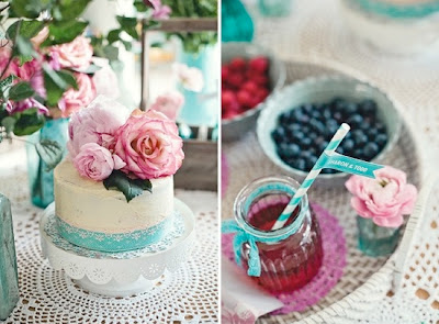 pink and turquoise bridal shower ideas, tea party ideas