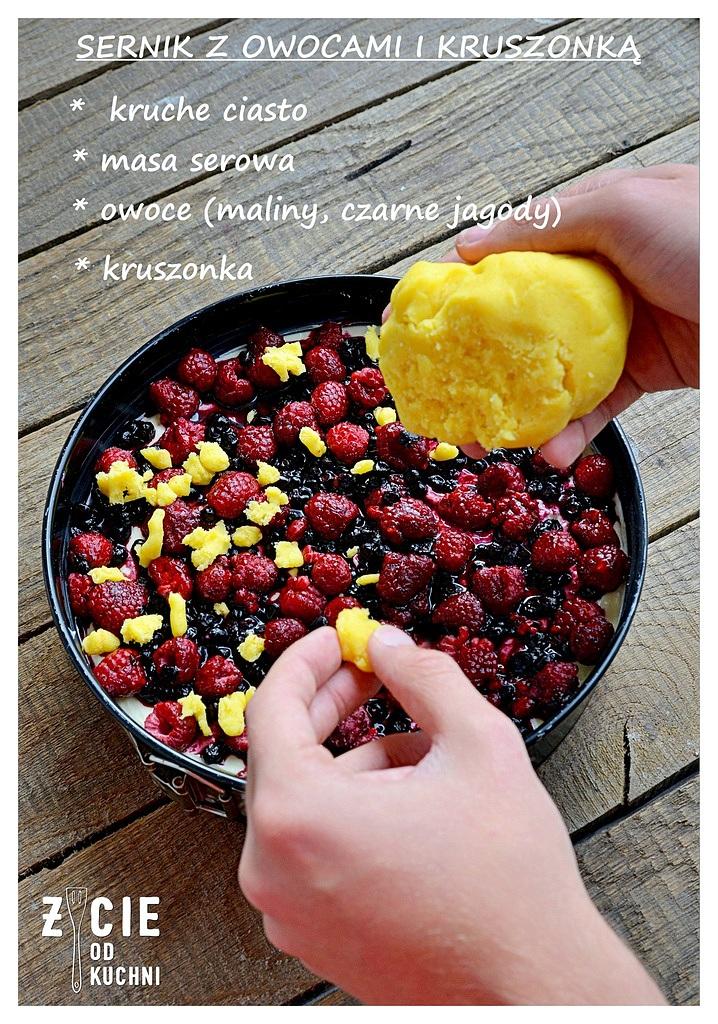 sernik, sernik z owocami, owoce poltino, poltino, przrpisy z poltino, maliny poltino, czarne jagody poltino, deser, ciasto z owocami