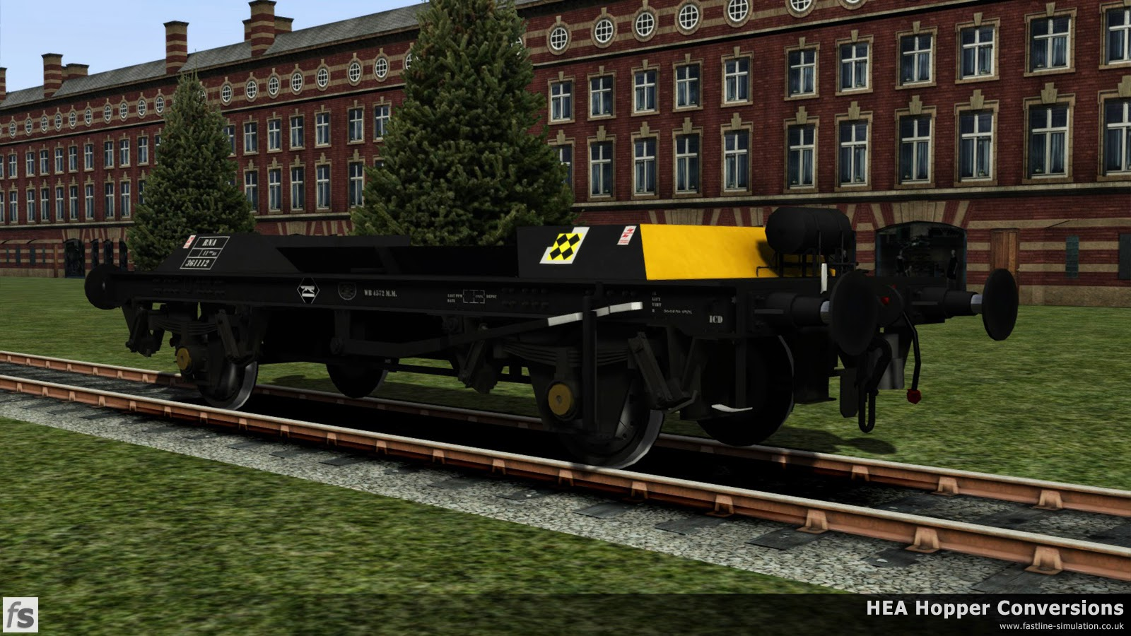 Fastline Simulation - HEA Conversions: RNA barrier wagon with the hopper body removed in Railfreight Coal livery from the air tank end showing the uncluttered side without pipe runs.