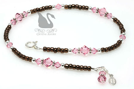 Swarovski Crystal Pink and Brown Charm Beaded Anklet (A103)