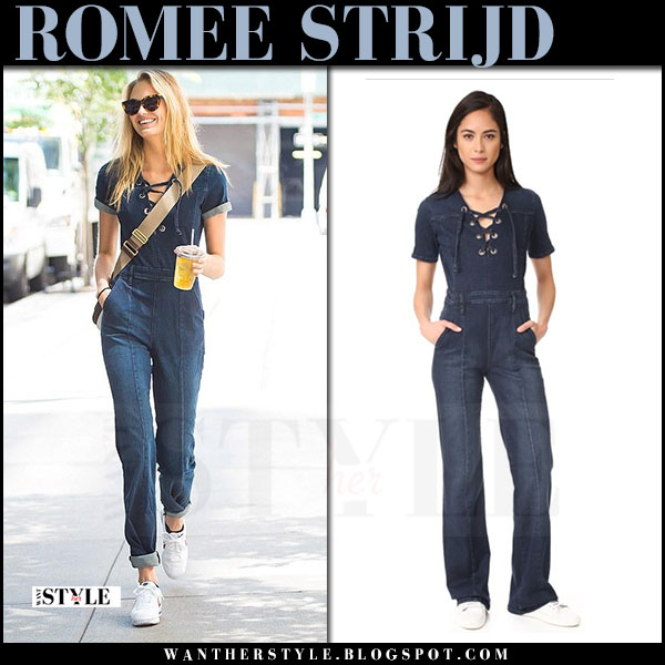 Romee Strijd casual outfit in denim jumpsuit frame what she wore model style june 28 2017