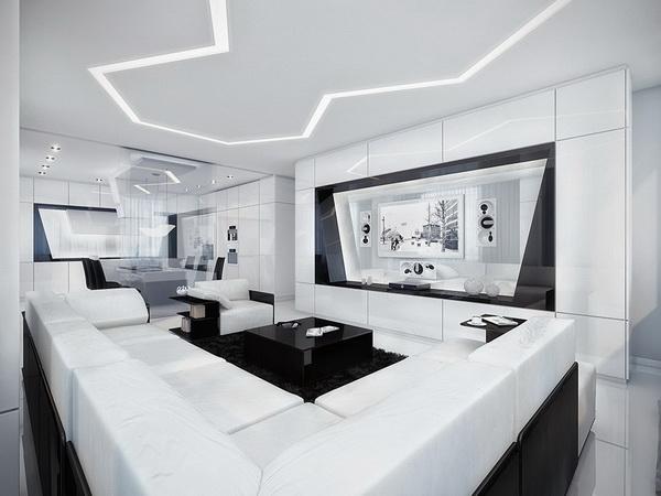 deco chambre interieur moderne appartement en noir et blanc. Black Bedroom Furniture Sets. Home Design Ideas