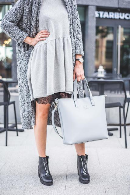 sweter, jak nosic, porady stylistki, stylistka poznan, stylizacja dnia, casual, street wear, duża torba, stylizacja dnia, butik, sukienka z kokardką, moda,