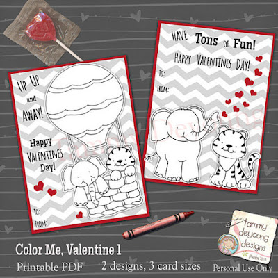 Valentine Coloring cards for Kids