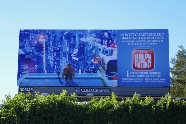 Ralph Breaks Internet Golden Globe nominee billboard