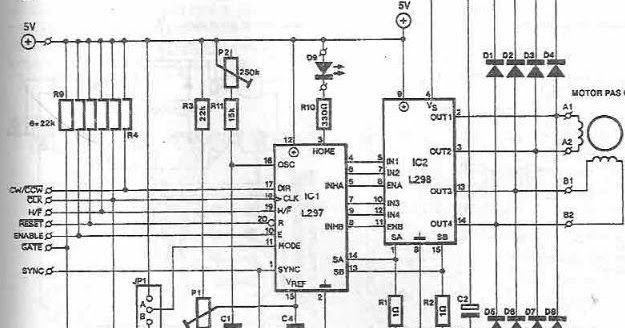 circuit for a stepper motor with two phase bipolar or unipolar four
