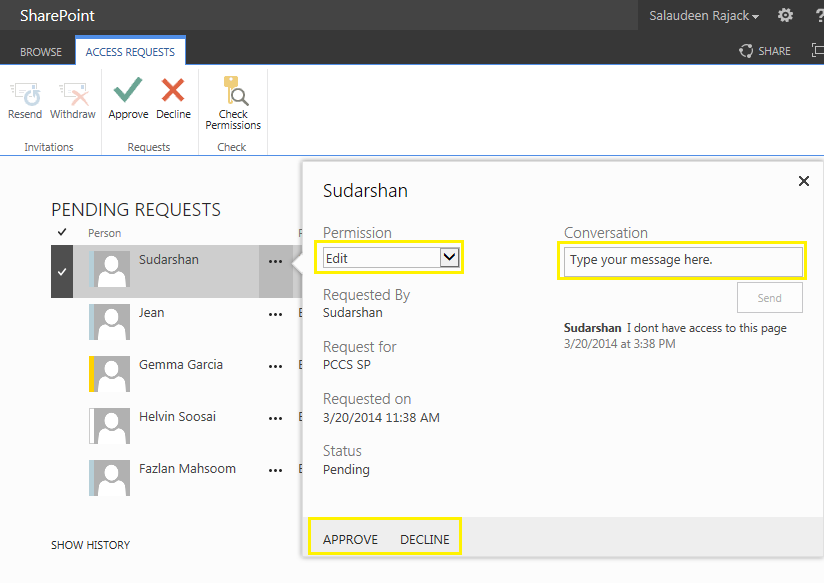 sharepoint 2013 approve access request