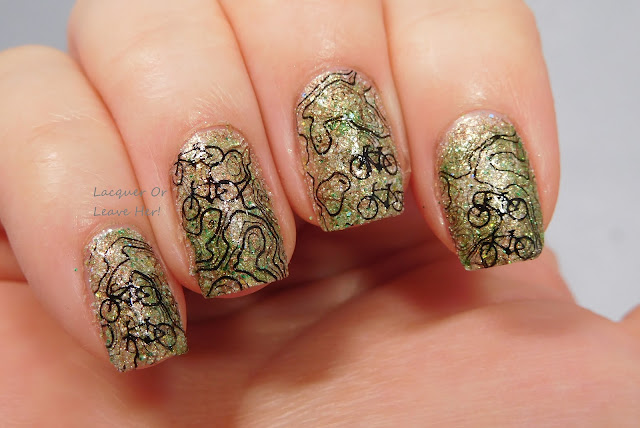 It Girl Nail Art fashion plate IG111 over Zoya Levi and Cece