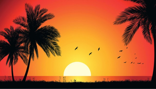 Pemandangan Pada Waktu Senja Di Laut Dengan Warna Panas