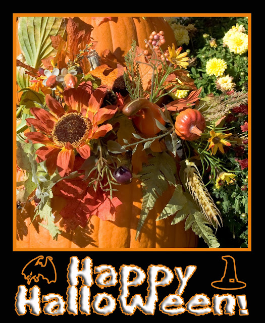 An autumn floral scene with pumpkins and a poster design for Halloween.