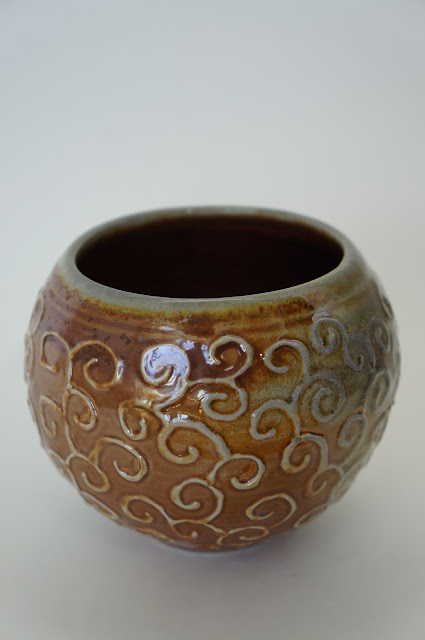 Soda fired ceramic vessel with slip trailed design - pottery by Lily L.