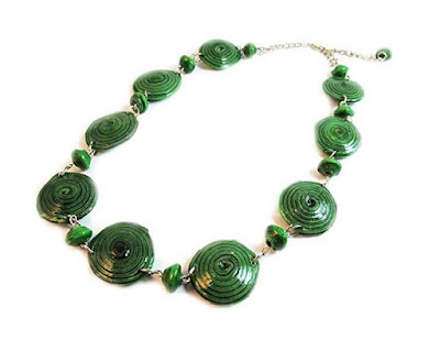 Maisha Fair Trade Strand Necklace, Recycled Green Paper Bead Necklace