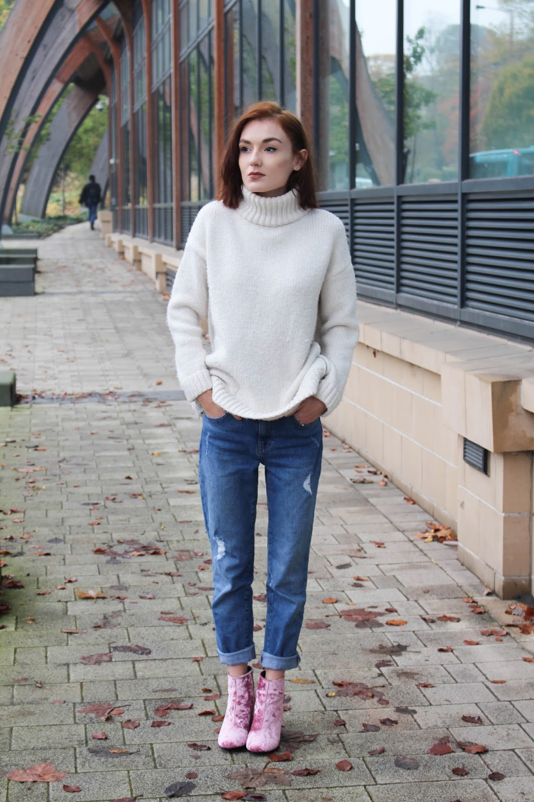 e9ad081d8ab4 VELVET ANKLE BOOTS: ASOS / CHUNKY ROLL NECK KNITTED JUMPER: ZARA (similar)  / *WAREHOUSE GIRLFRIEND JEANS: c/o DEBENHAMS Welcome to my life ankle boots  of ...