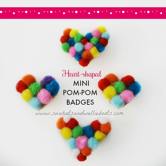 Sun Hats & Wellie Boots: Heart-Shaped mini pom-pom Badges - Lolly