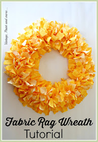 Vintage, Paint and more... a Spring wreath made from strips of torn fabric tied on a wire wreath form