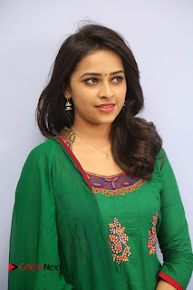 Actress Sri Divya Pictures in Green Salwar Kameez at Rayudu Team Meet  0058.JPG