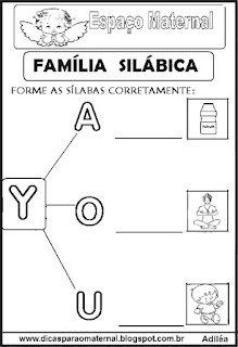 Família silábica alfabetização letra Y