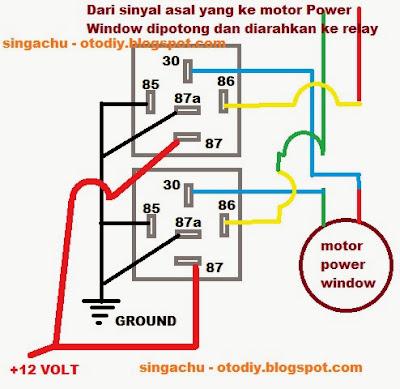 sos station diy tambah relay power windowgambar 11 skema pemasangan relay power window gambar 12 wiring diagram
