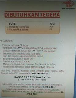 Peluang Kerja Lampung Terbaru Dari KANTOR POS METRO April 2017