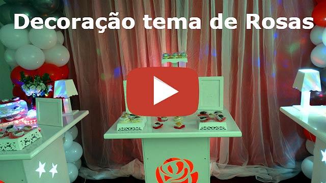Vídeo decoração de festa com tema de rosas